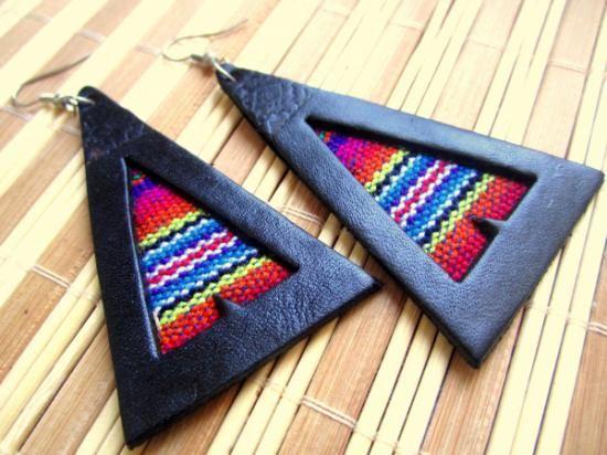 pendientes cuero bohemia tribal  cuero en colores,tela de telar cuero y telar