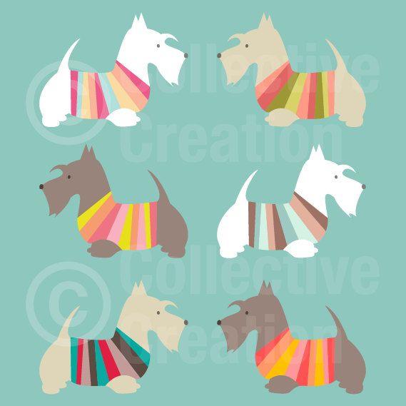 Terrier escocés Digital Clip Art Clipart Set por CollectiveCreation