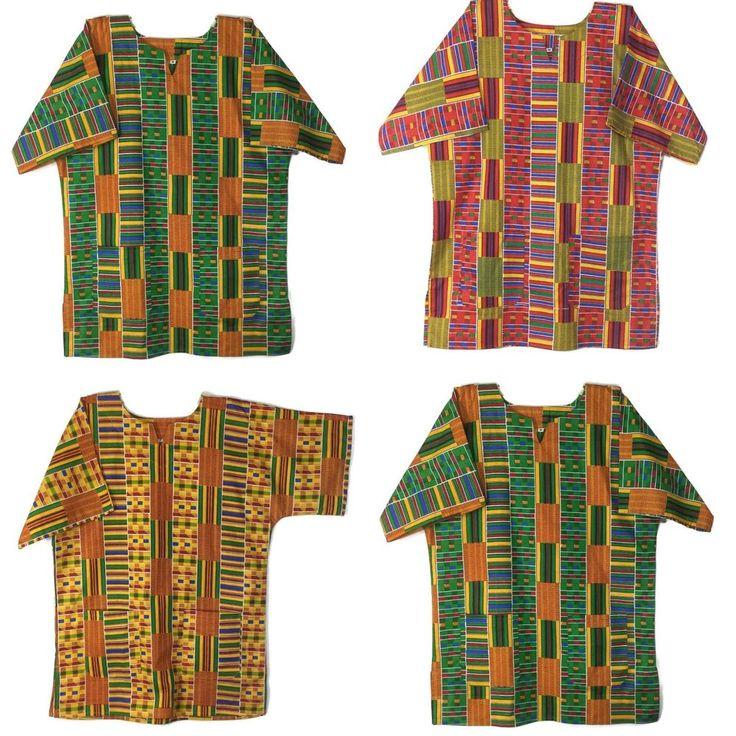 African Dashiki Shirt Men's Kente Pattern Top Cotton Blouse S M L XL Red Green #Handmade #Dashiki