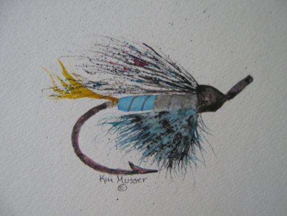 Fishing Fly Original Watercolor Painting by PaintingsWatercolor, $40.00