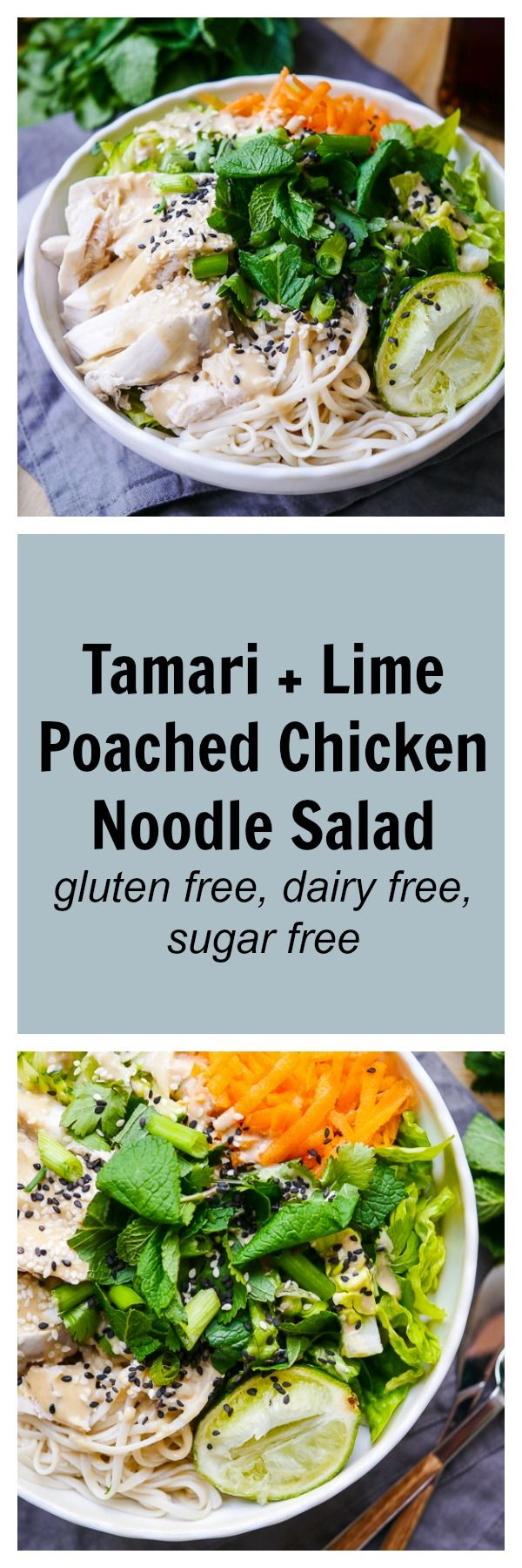 A poached chicken noodle salad packed with a rainbow of healthy veggies and an amazing tamari dressing! Gluten free, dairy free & sugar free, and so tasty! Recipe via nourisheveryday.com