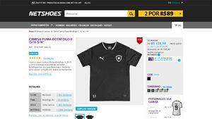 [Netshoes] Camisa Puma Botafogo II 15 / 16 s / nº - Masculino - 4056205499589 por R$ 129,90