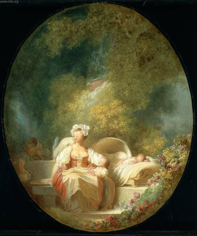 Page: The Good Mother Artist: Jean-Honore Fragonard Style: Rococo Genre: genre painting Technique: oil Material: canvas Gallery: Museum of Fine Arts