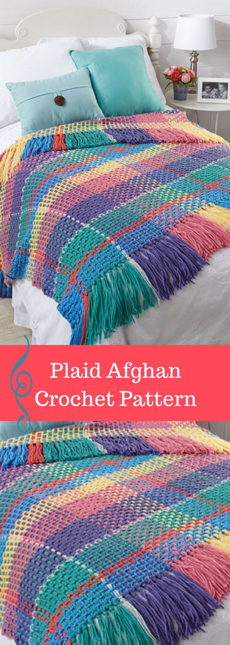 Plaid Afghan Crochet Pattern. Tutorial Instructions to make the plaid your own colors if desired. Pattern is available for download after purchase. #ad