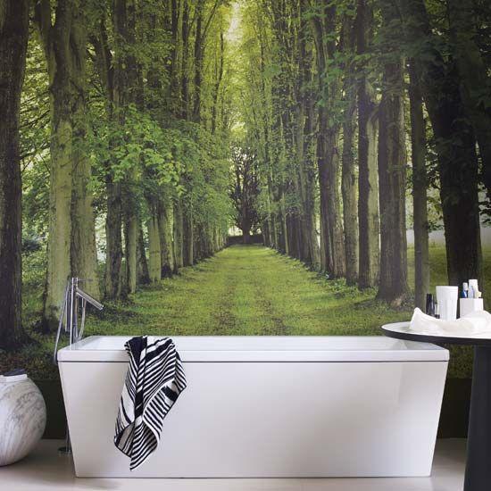 Tree wallpaper in bathroom