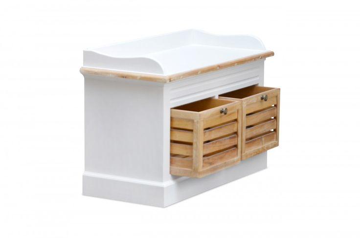 #Kommodenbank Burgund - mit 2 Holzschubladen - Antik Look - weiß/graubeige - lackiert
