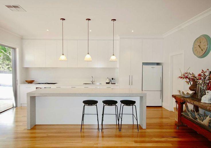 Caesarstone Noble Grey benchtop. White minimalist modern kitchen