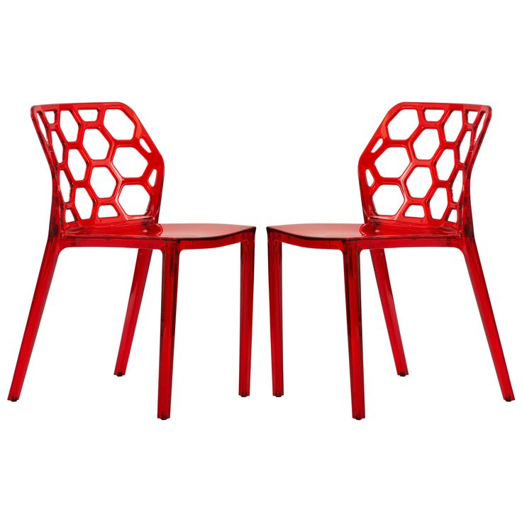 LeisureMod Cove Transparent Red Dining Chair (Set of 2) (Cove Transparent Red Modern Dining Chair Set Of 2)