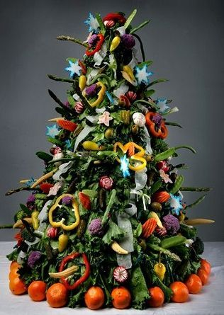 Carolyn Black of Arlington created this 3-foot-tall  edible vegetable Christmas tree.