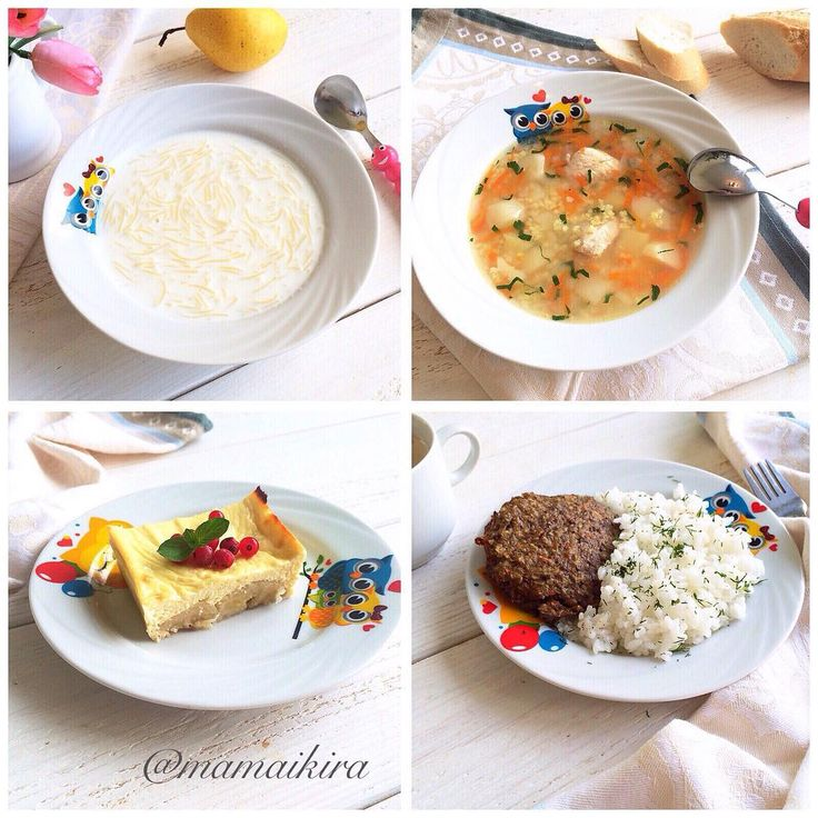 ДЕТИ И МАМА: РАСТЁМ ВЕСЕЛО в Instagram: «Автор меню @mamaikira Завтрак: Молочный суп «Паутинка» (с 1 года) Обед: Куриный суп с пшеном ( с 1,6 года) Полдник: Запеченный банан с…»