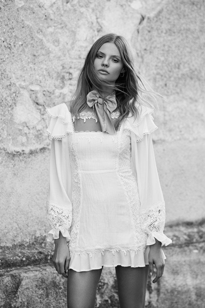 FOR LOVE & LEMONS - Crema Silk Linen Dress - White