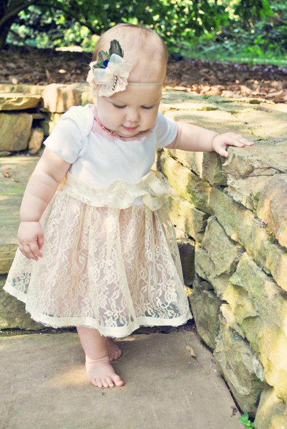Shabby Chic Infant Summer Lace Tutu Onesie Dress - looks pretty simple to sew