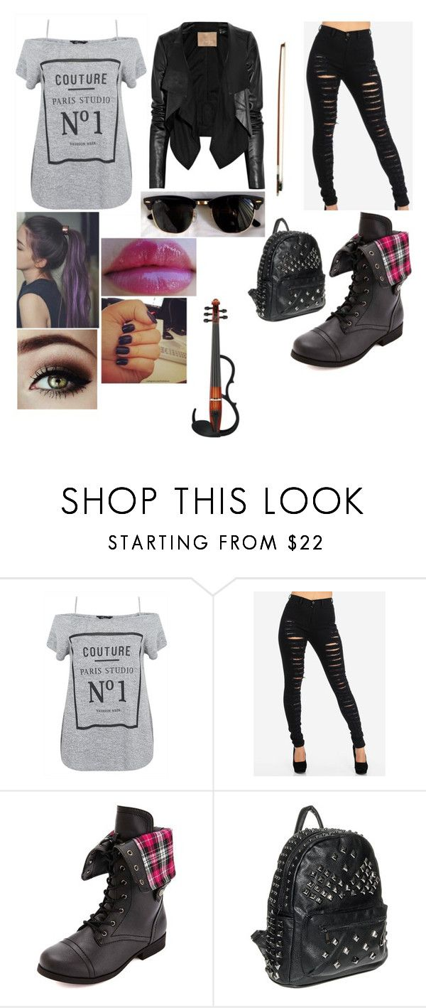 """""""Sin título #1892"""" by agustina-lombardi ❤ liked on Polyvore featuring Charlotte Russe, Ray-Ban, Max Azria and Yamaha"""