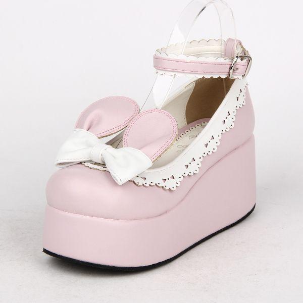Angelic imprint新款Lolita鞋松糕厚底鞋兔耳蝴蝶结公主鞋 8453