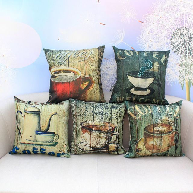 Vintage Cafe Cotton Linen Pillow Cover Coffee Cup Chair Waist Cushion Cover Throw Pillowcase Home Textile