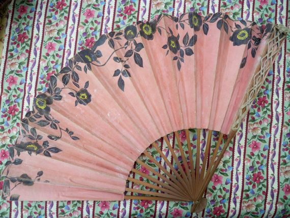 1840s1860s Hand Painted Silk ladys hand fan. by soldiersjoy