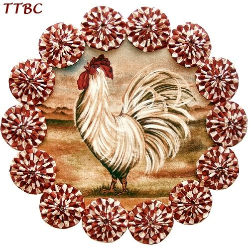 11 in. Red Check & Striking Fancy Rooster Curly Tail Feathers Rolling Hills Fabric YoYo Candle Mat Centerpiece Doily ... Ebay Item 251199893828 ... $9.99