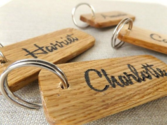 Engraved Personalised Keyring  Wooden Personalised by MakeMemento
