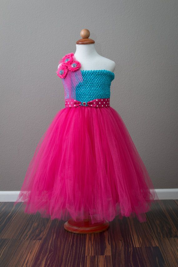 Turquoise Fuchsia Tutu dress with rosettes and by BloomsNBugs, $80.00