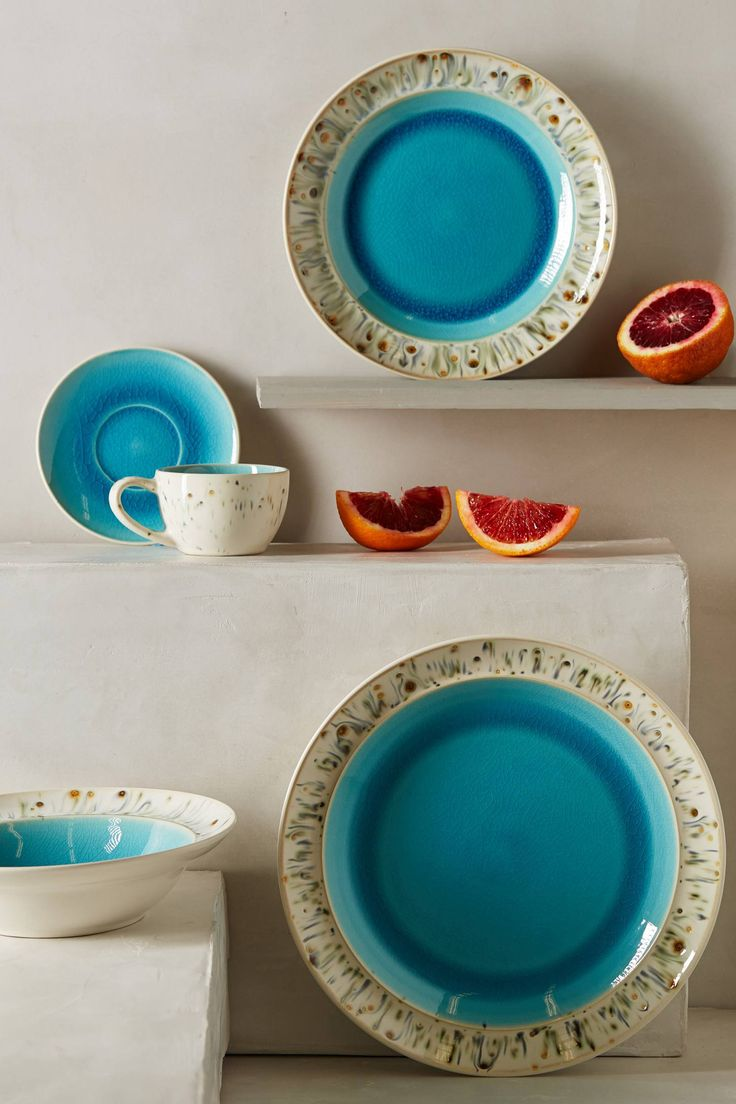 best blue and white images on pinterest  blue and white  - brighten up your kitchen with anthropologie's scattered seas dinner plates