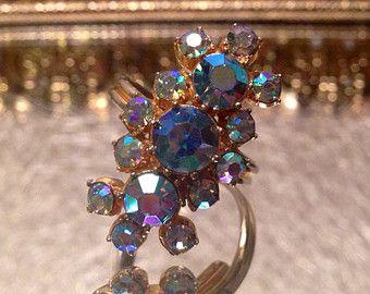 On SALE Now Vintage Aurora Borealis Blue and Purple AB Rhinestone Juliana Style Deco Style Adjustable Ring