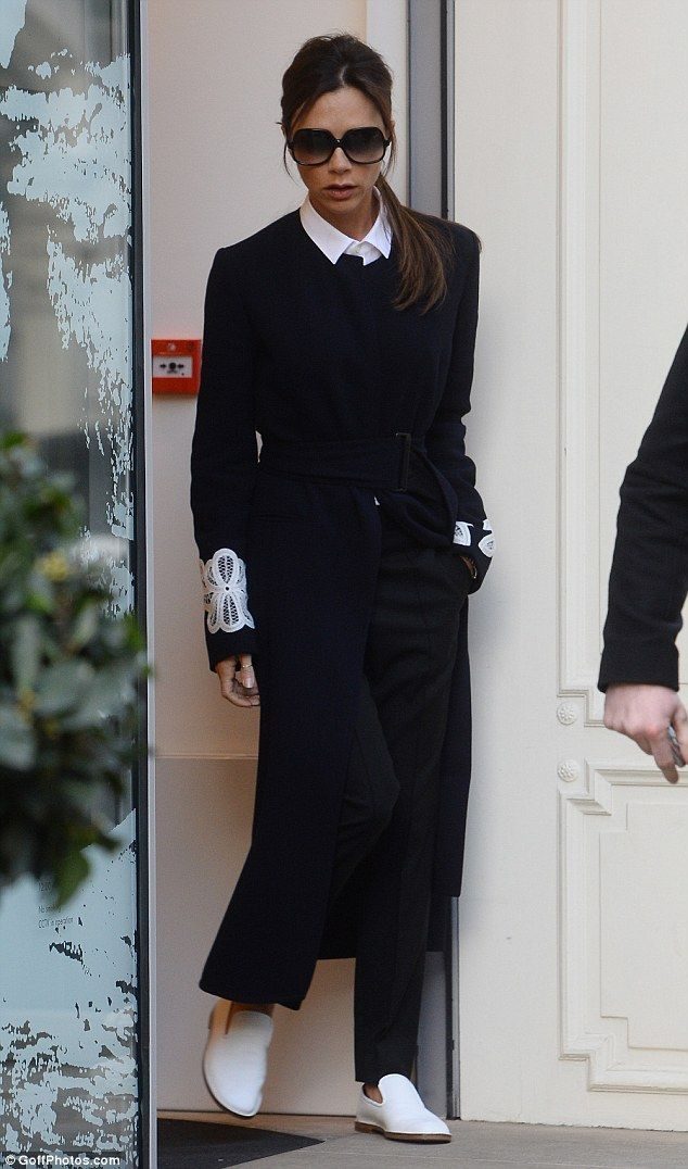 Victoria Beckham showed off her stunning sartorial style in a decidedly androgynous ensemble as she visited her London store on February 23, 2016
