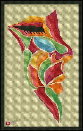 0 point de croix visage de fille multicolore - cross stitch colourful girl's face
