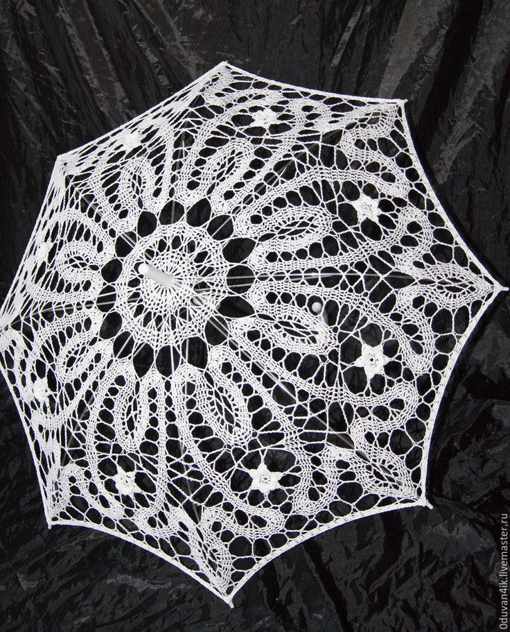 Купить Зонт № 40 - белый, зонт, ажурный зонт, вязанный зонт, свадьба
