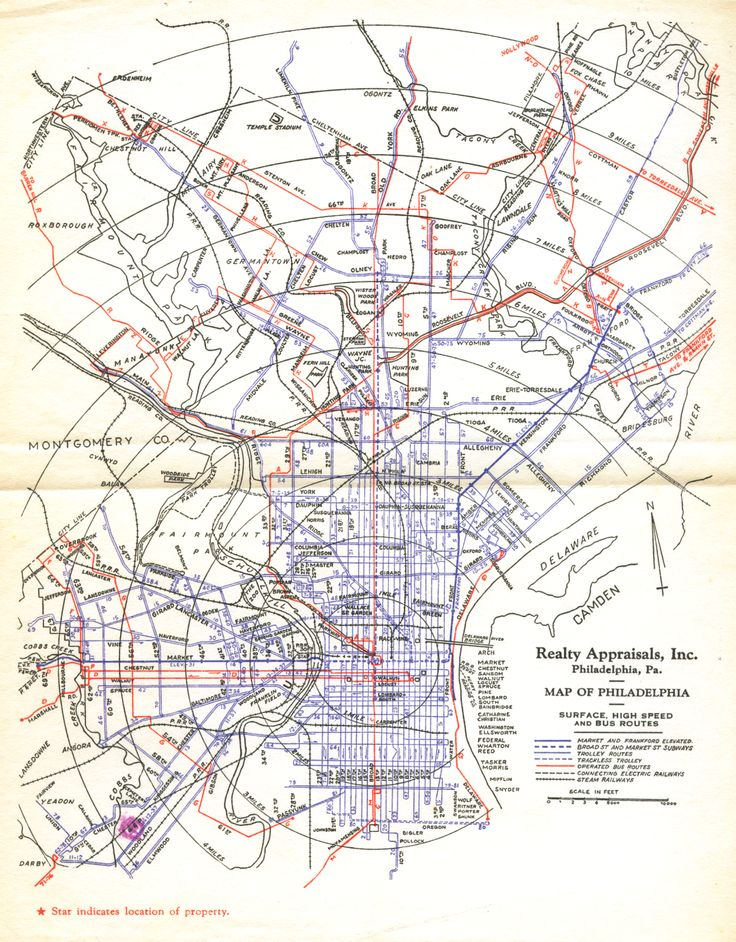 Philadelphia Transit Map 1940 Subways And Trolleys