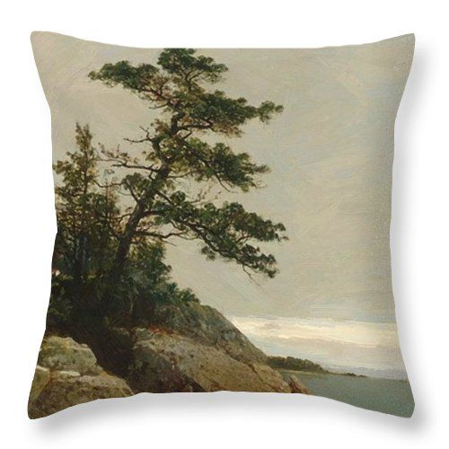 The Throw Pillow featuring the painting The Old Pine Darien Connecticut 1872 by Kensett John Frederick