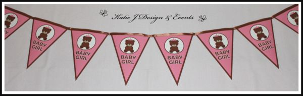 Pennant Banner Bunting #Baby #Cute #Shower #Pink #Girls #Girl #Teddy #Bear #Shower #Christening #Bunting #Party #Decorations #Ideas #Banners #Cupcakes #WallDisplay #PopTop #JuiceLabels #PartyBags #Invites #KatieJDesignAndEvents #Personalised #Creative