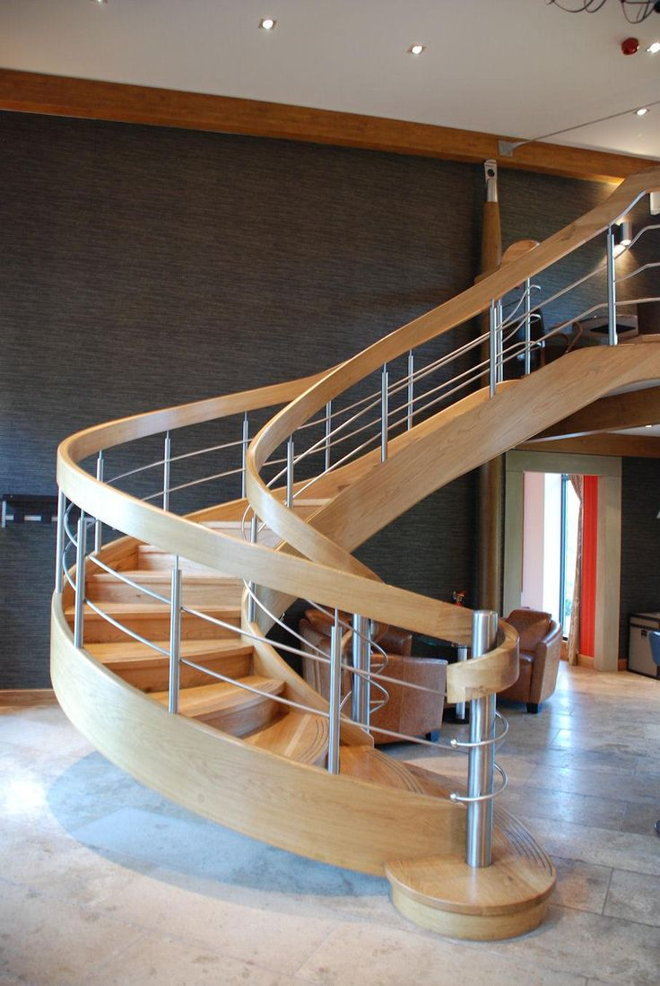 Gorgeous Spiral Staircase Designs To Inspire You : Modern Spiral Staircase  Design Inspiration With Metal Baluster And Wooden Handrail Also Wooden  Tread ...