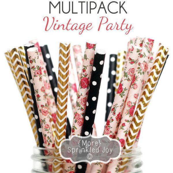 VINTAGE PARTY Light Pink, Gold, Black Paper Straws, Party Decor, Blush, Cake Pop, Floral, Tea Party, Birthday, Baby Shower, Bridal, Wedding featuring polyvore