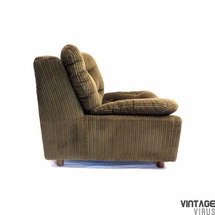Vintage fauteuil / zitelement / bankje van groen ribstof in zeer goede staat uit de jaren '70