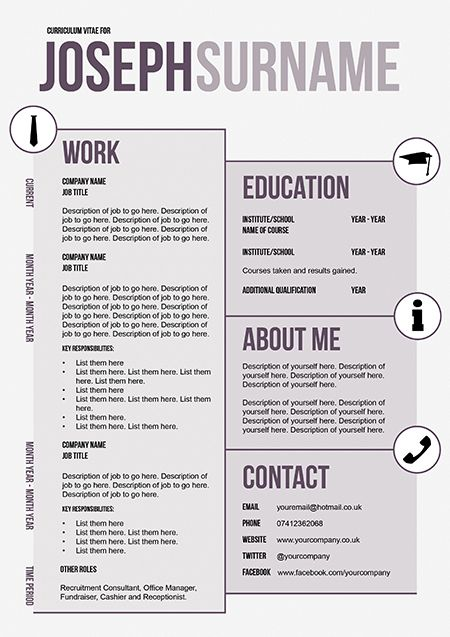 18 best CV Templates images on Pinterest Career, Cv template and - unique resume formats