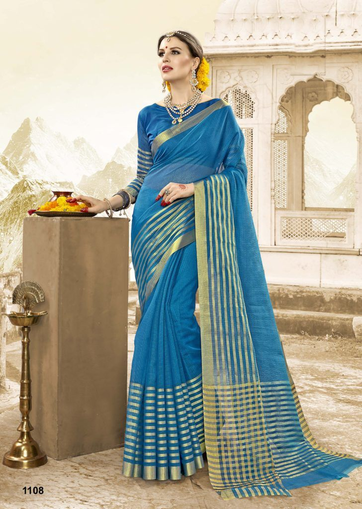0bb029d2242bde Gorgeous Blue,Gold color Cotton Handloom Silk Saree | Designer ...