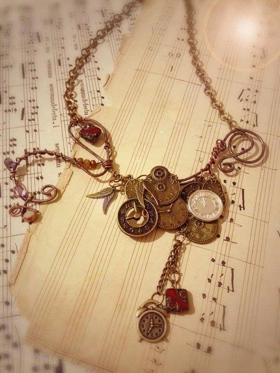 Steampunk statement necklace with wire bronze by EmeraldsDreams, $40.00