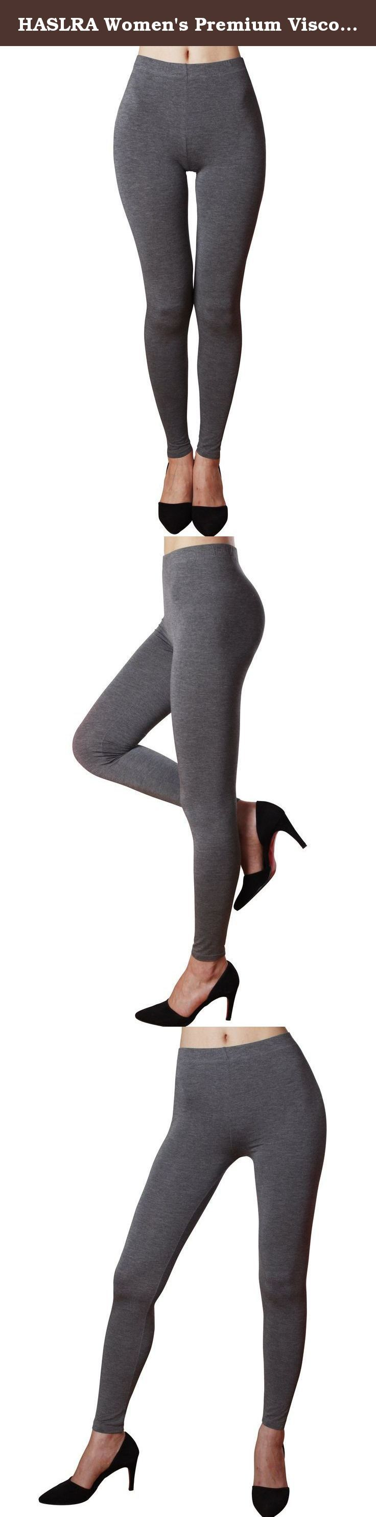 "HASLRA Women's Premium Viscose Rayon Stretch Full Length Leggings (MELANGE CHARCOAL), Medium. PRODUCTS DESCRIPTION: This is a basic design, solid color leggings made of Viscose Rayon material providing ""silk-like"" sheen and luxurious feel HASLRA Solid color Leggings contain high-quality Viscose Rayon material with high elasticity providing your legs a soft, highly resilient feel The highly stretchable and durable waistband allows maximum comfort all-day long The genuine, high-quality..."
