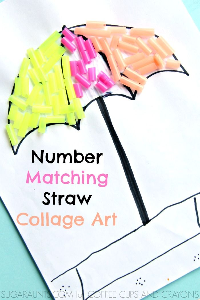 number matching collage art. Preschool kids love this craft!