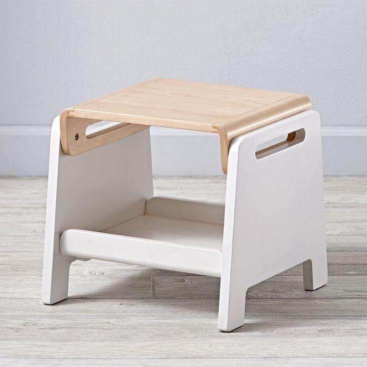 Complete with handle cutouts for easy transport, this wooden step stool is…