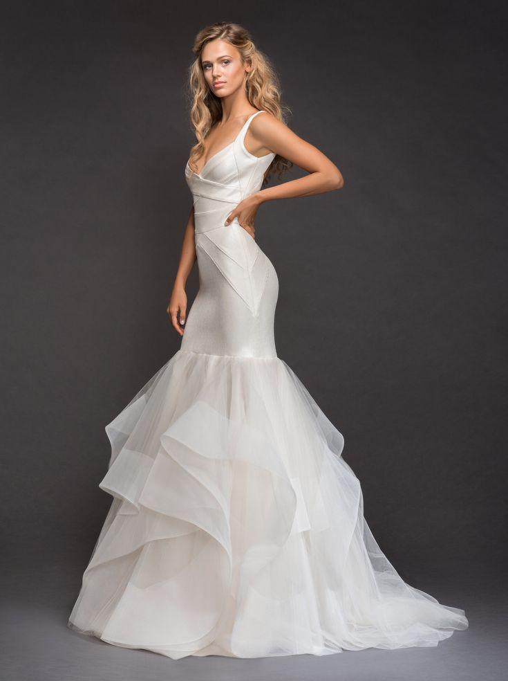 V-neckline Spaghetti Strap Bandage Knit Mermaid Wedding Dress With Horsehair Trim Ruffle Skirt