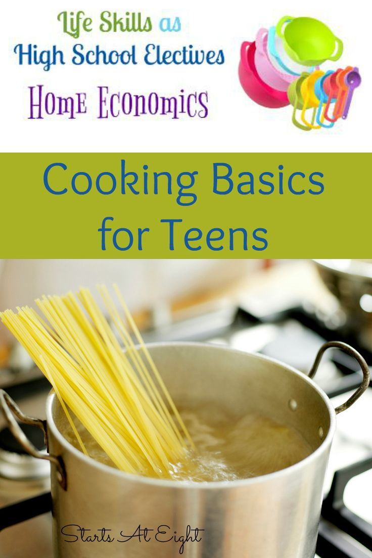 Life Skills as High School Electives: Cooking Basics for Teens from Starts At Eight. Preparing our teens to cook for themselves will both save them money and allow them to eat healthier. Cooking Basics for Teens will help you, help them learn basics such