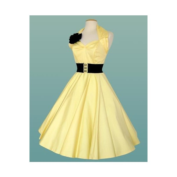 1950s Halterneck Yellow Dress | 1950s Halterneck Plain | 1950s Swing Dress | Women's Clothing | Vivien of holloway found on Polyvore