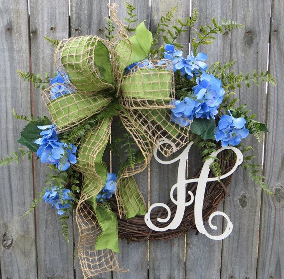 WREATH, SPRING, HYDRANGEA, MONOGRAM This wreath is the perfect personalized accent for spring and summer. A wired burlap mesh overlays a green