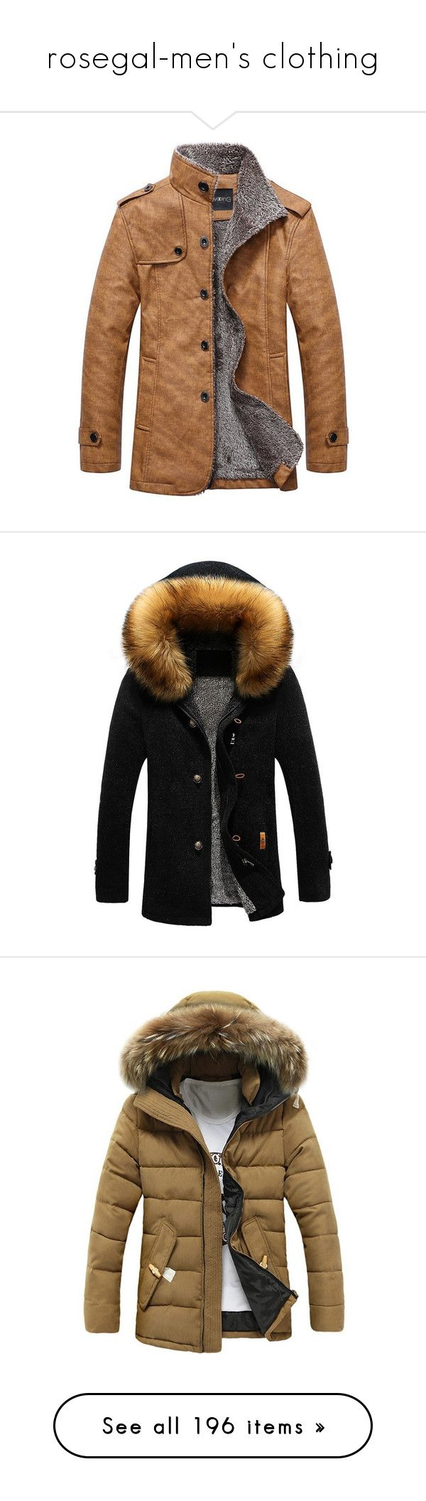 """rosegal-men's clothing"" by rosegal-official ❤ liked on Polyvore featuring men's fashion, men's clothing, men's outerwear, men's jackets, men's stand collar jacket, mens fur hood jacket, mens zip up jackets, men's coats, mens quilted coat and jackets"