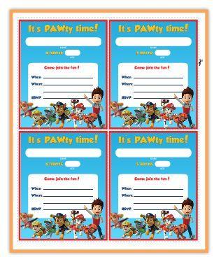 Paw Patrol Free Printable Invite