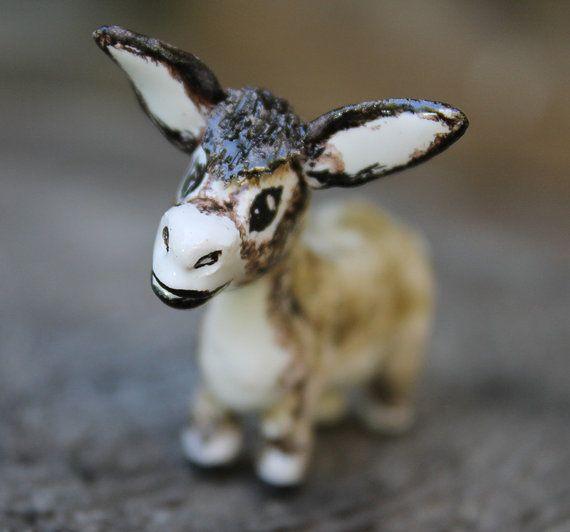 Ceramic Donkey Figurine hand built Miniature by Natvasclayandpaper