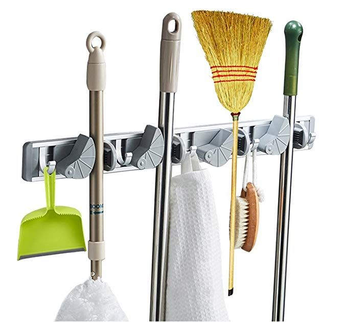 Multi Functional Mop Rack Senior Aluminum Clip On Broom Holder And Garden Tool Organizer For Rake Or Mo Garden Tool Organization Broom Holder Tool Organization