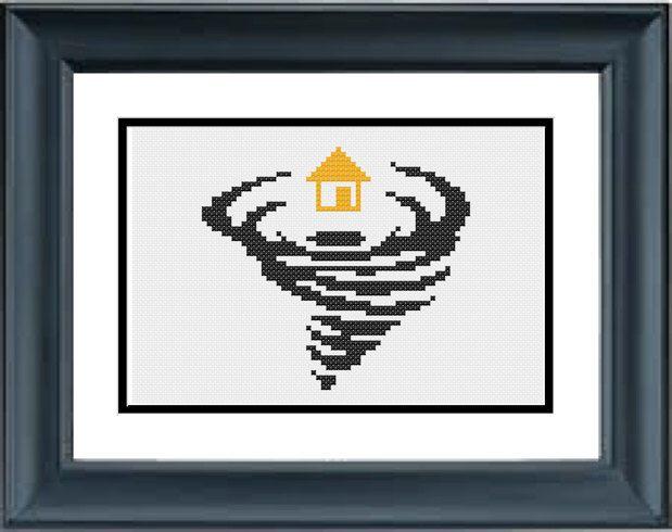 House in a Twister - Wizard of Oz - Wicked - PDF Cross-Stitch Pattern by PopularStitch on Etsy https://www.etsy.com/listing/204914382/house-in-a-twister-wizard-of-oz-wicked