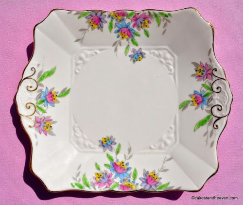 Tuscan Art Deco 5013H Hand Painted Pink Cake Plate c.1936+